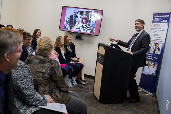 Dr. Gary Buckholz speaks at the awards ceremony