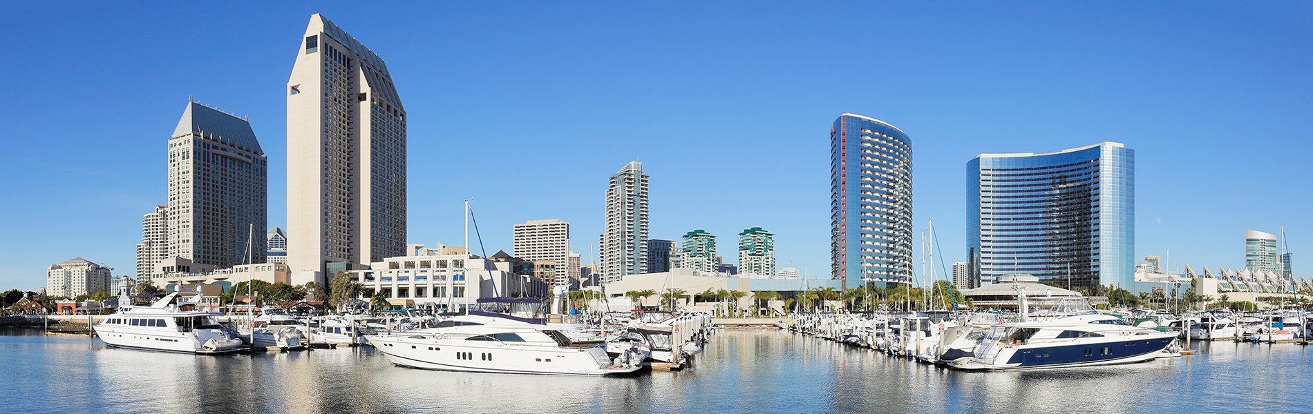San Diego skyline and boats in harbor