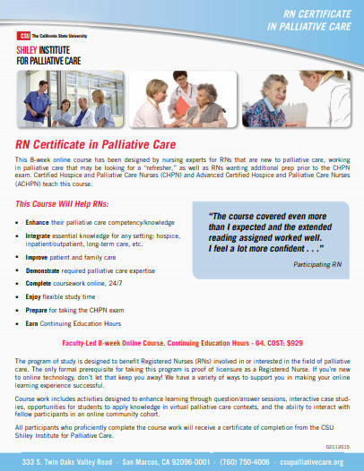 RN Certificate in Palliative Care Brochure