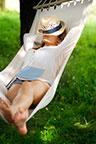 Laying in hammock