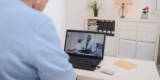 Telemedicine: Doctor with patient